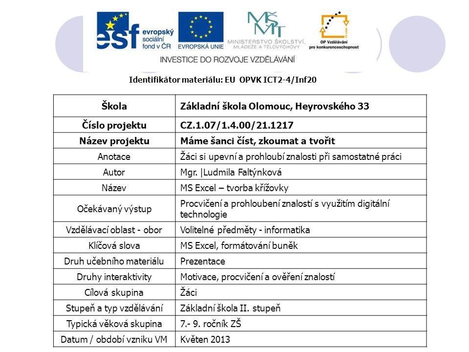 Identifikátor materiálu: EU OPVK ICT2-4/Inf20