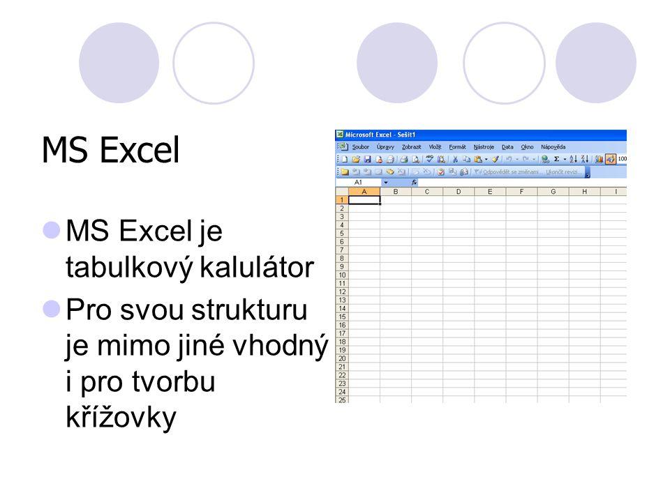MS Excel MS Excel je tabulkový kalulátor