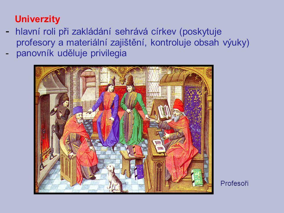 Univerzity - hlavní roli při zakládání sehrává církev (poskytuje profesory a materiální zajištění, kontroluje obsah výuky)