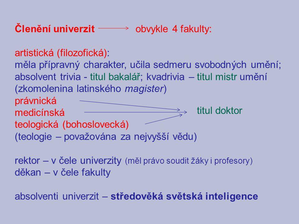 Členění univerzit obvykle 4 fakulty:
