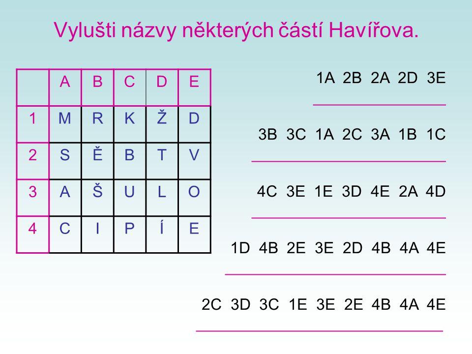 Vylušti názvy některých částí Havířova.