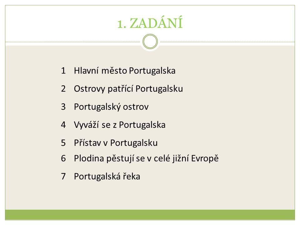1. ZADÁNÍ 1 Hlavní město Portugalska 2 Ostrovy patřící Portugalsku 3