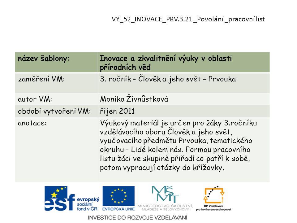 VY_52_INOVACE_PRV.3.21 _Povolání _pracovní list