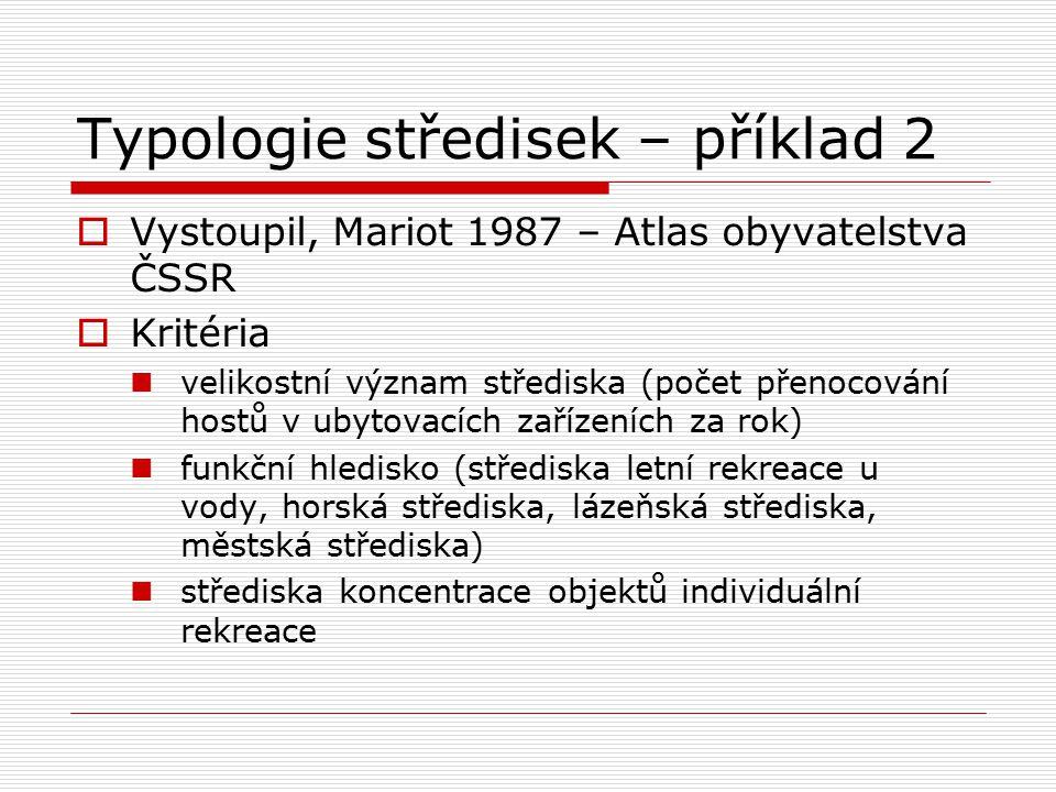Typologie středisek – příklad 2