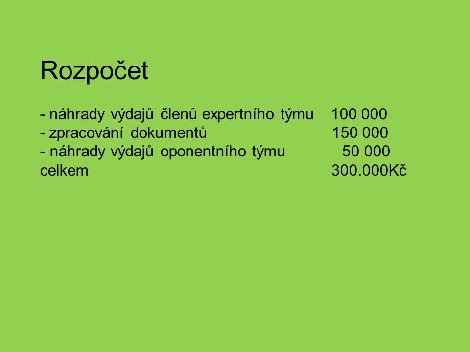 Rozpočet - náhrady výdajů členů expertního týmu 100 000