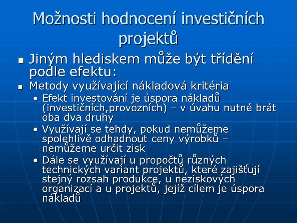 Možnosti hodnocení investičních projektů
