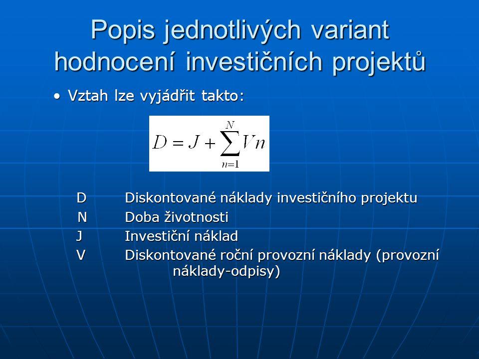 Popis jednotlivých variant hodnocení investičních projektů
