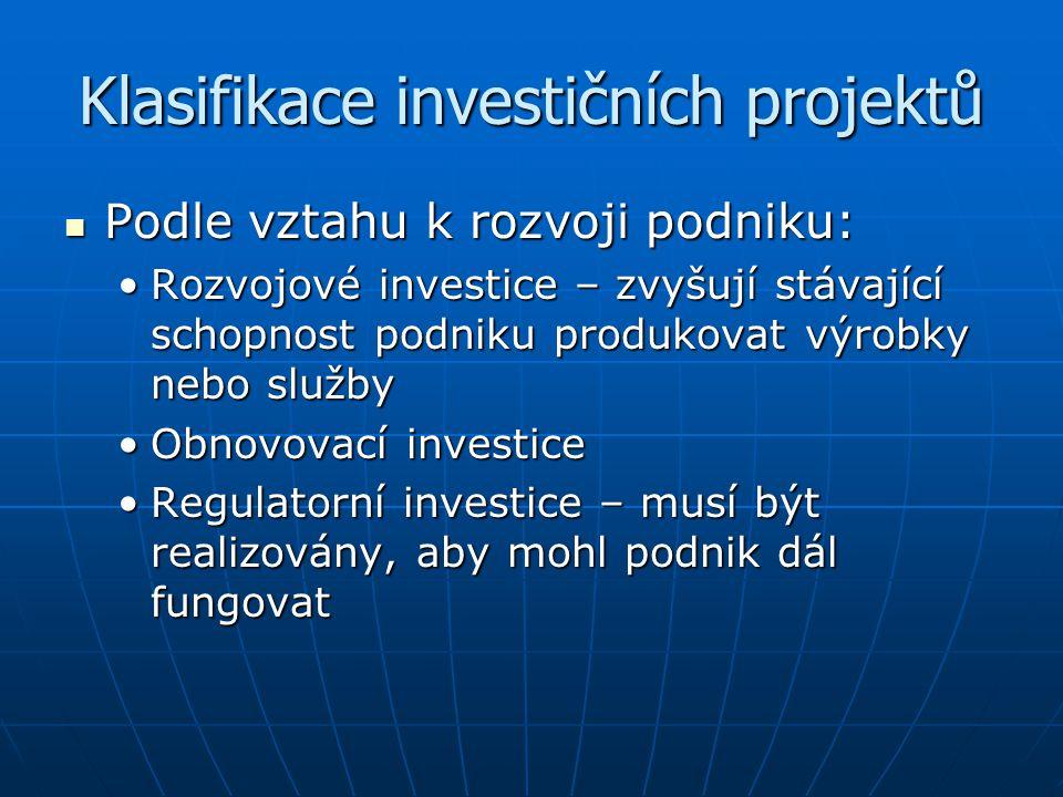 Klasifikace investičních projektů