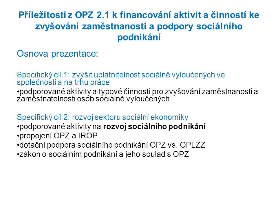 Příležitosti z OPZ 2.1 k financování aktivit a činností ke zvyšování zaměstnanosti a podpory sociálního podnikání
