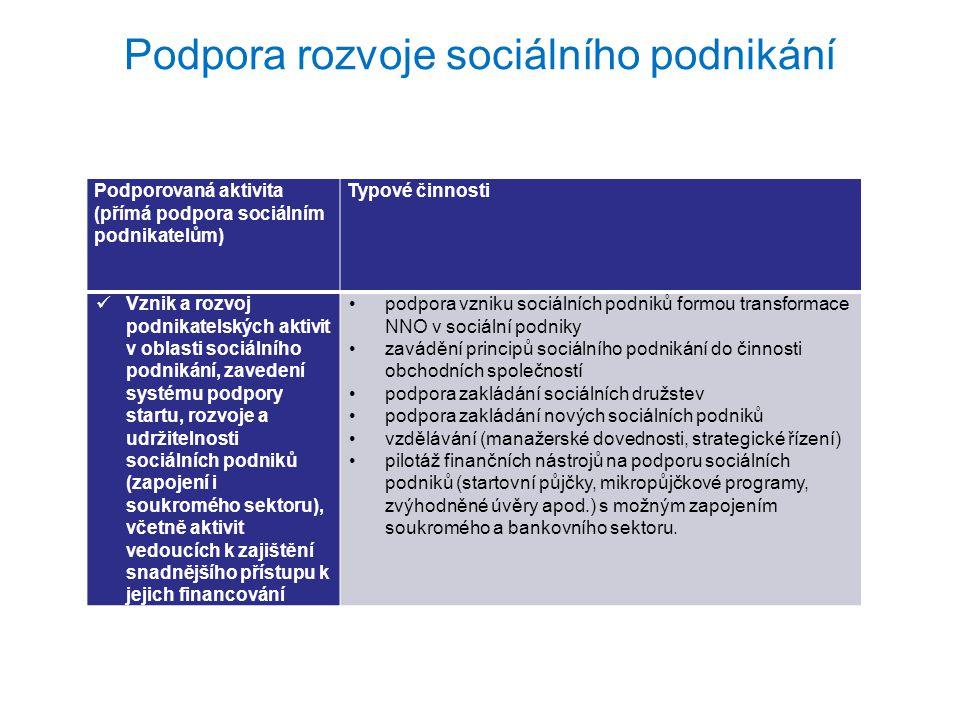 Podpora rozvoje sociálního podnikání