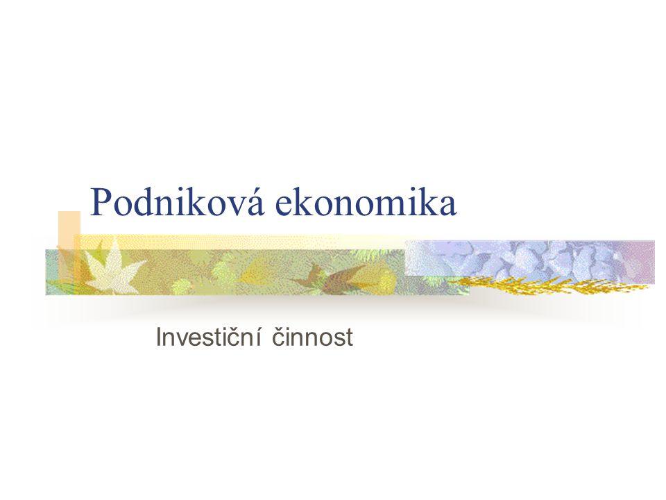Podniková ekonomika Investiční činnost