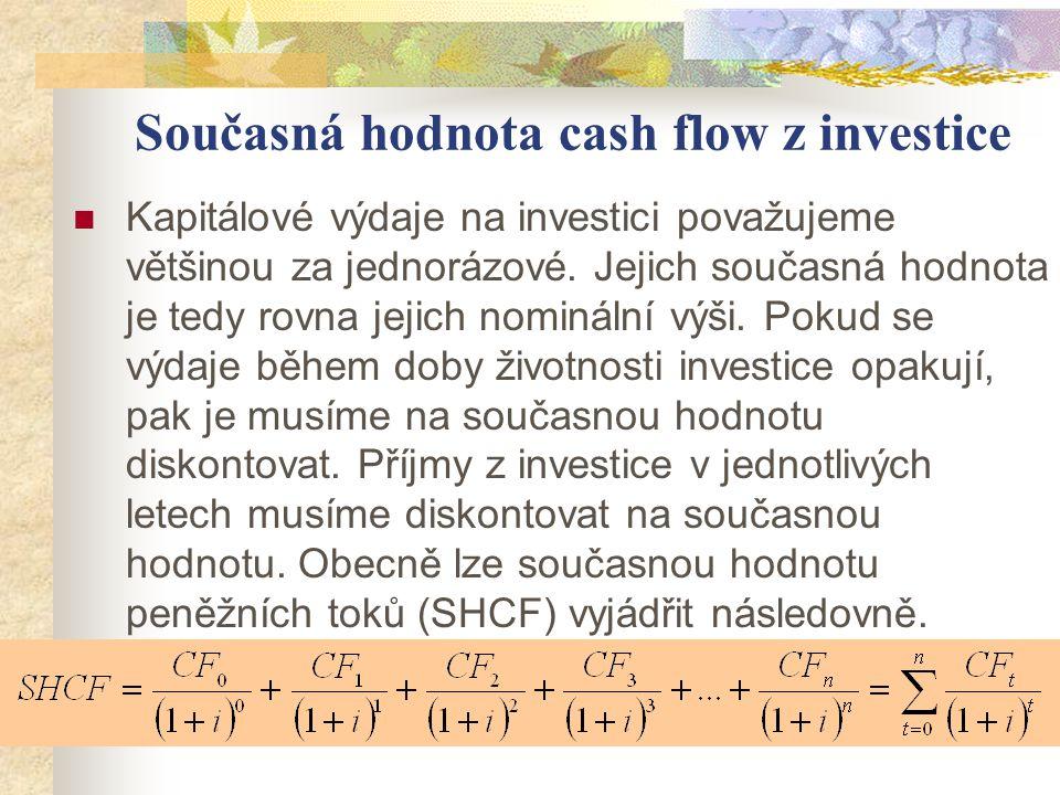 Současná hodnota cash flow z investice