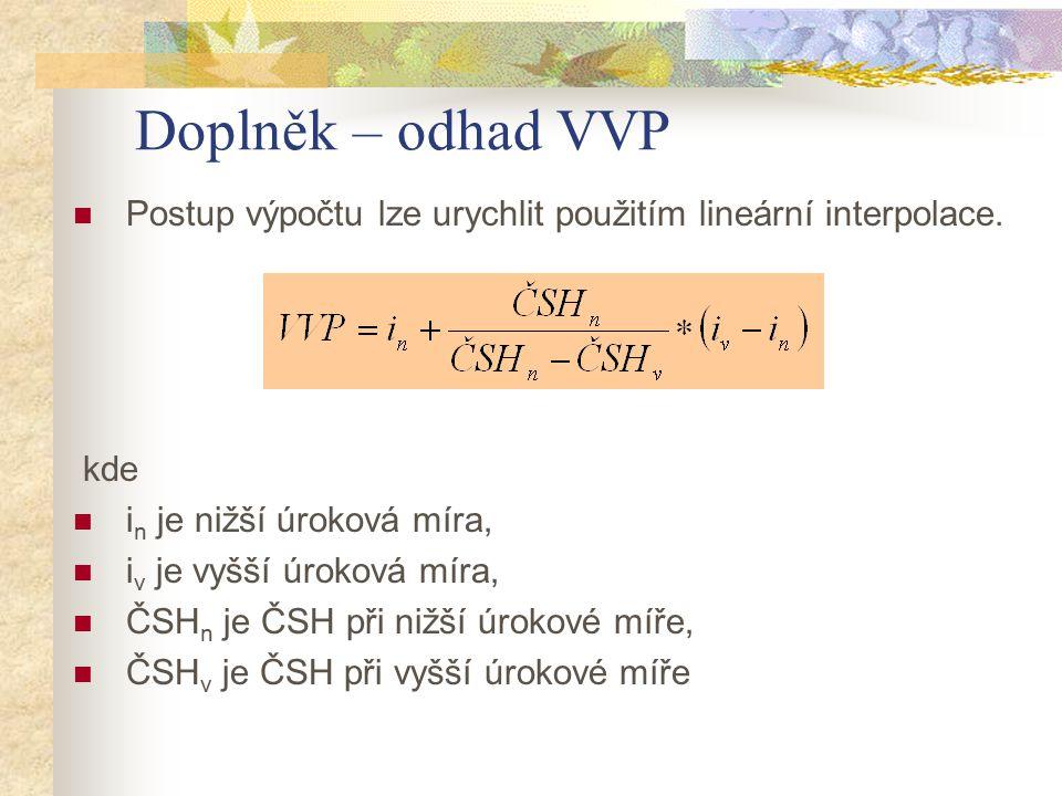 Doplněk – odhad VVP Postup výpočtu lze urychlit použitím lineární interpolace. kde. in je nižší úroková míra,