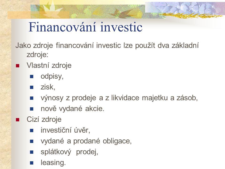 Financování investic Jako zdroje financování investic lze použít dva základní zdroje: Vlastní zdroje.