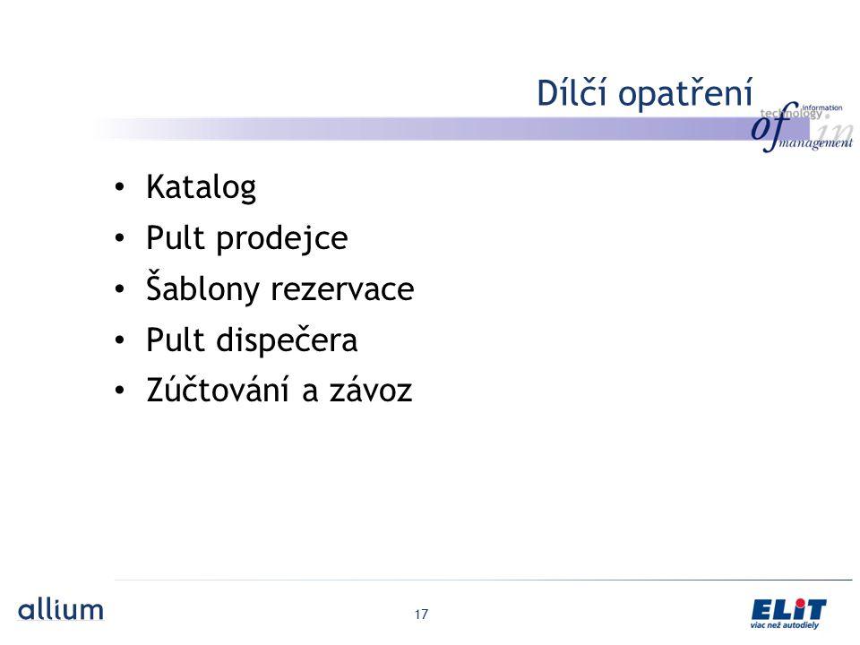 Dílčí opatření Katalog Pult prodejce Šablony rezervace Pult dispečera