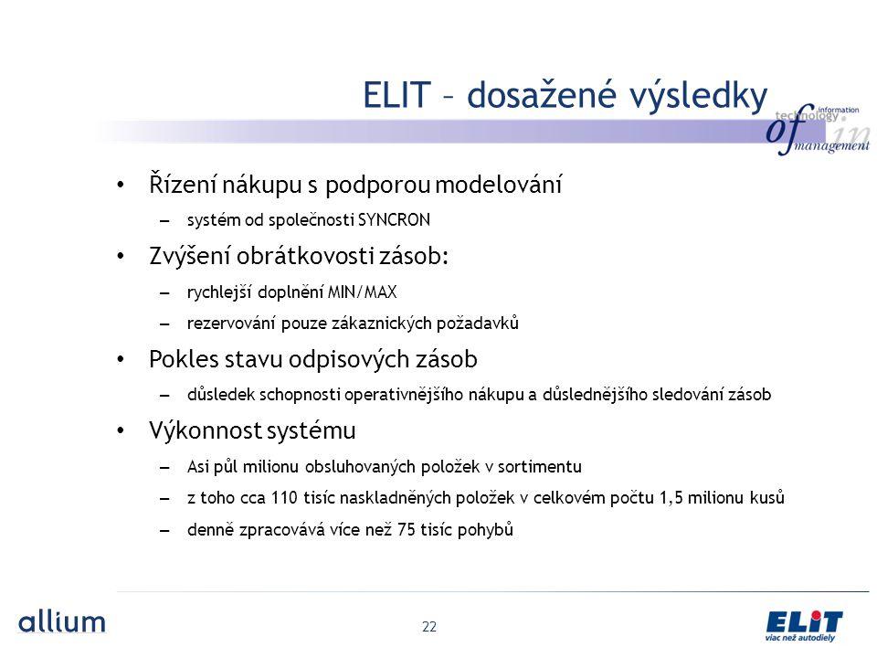 ELIT – dosažené výsledky