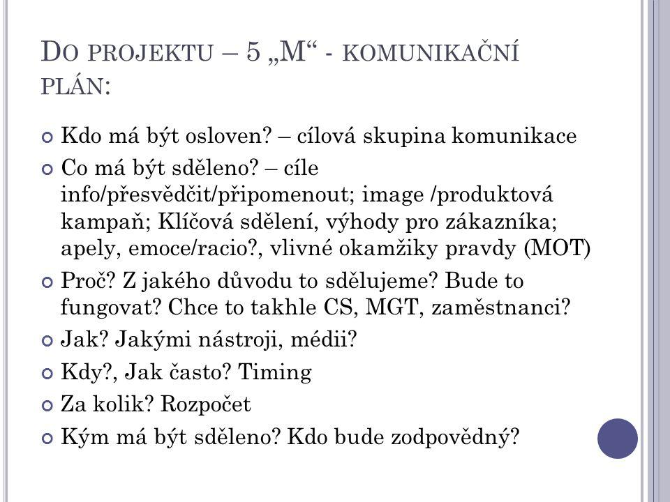 """Do projektu – 5 """"M - komunikační plán:"""