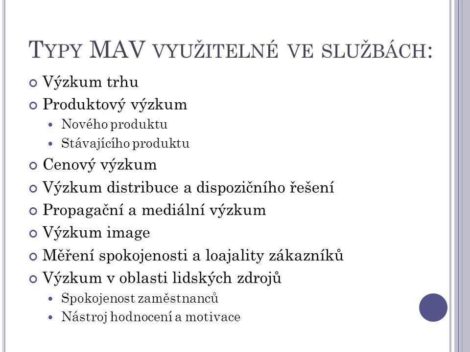 Typy MAV využitelné ve službách: