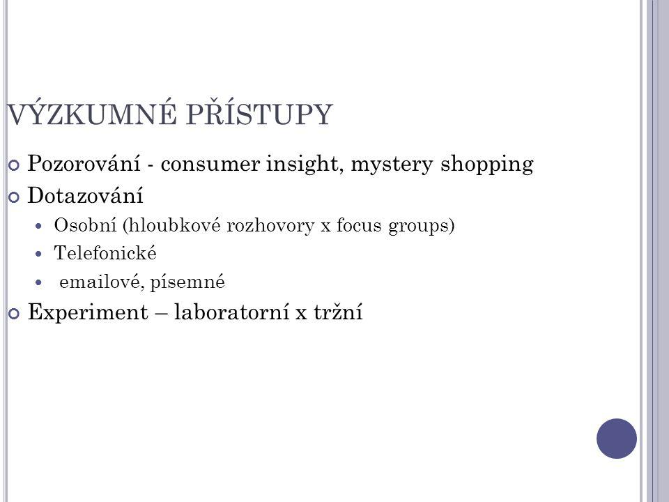 VÝZKUMNÉ PŘÍSTUPY Pozorování - consumer insight, mystery shopping