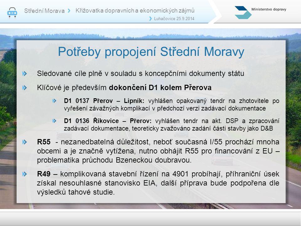 Potřeby propojení Střední Moravy