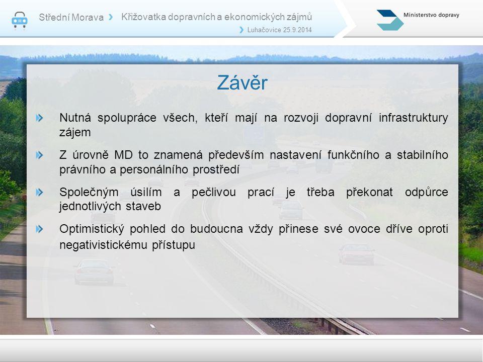 Střední Morava Křižovatka dopravních a ekonomických zájmů. Luhačovice 25.9.2014. Závěr.