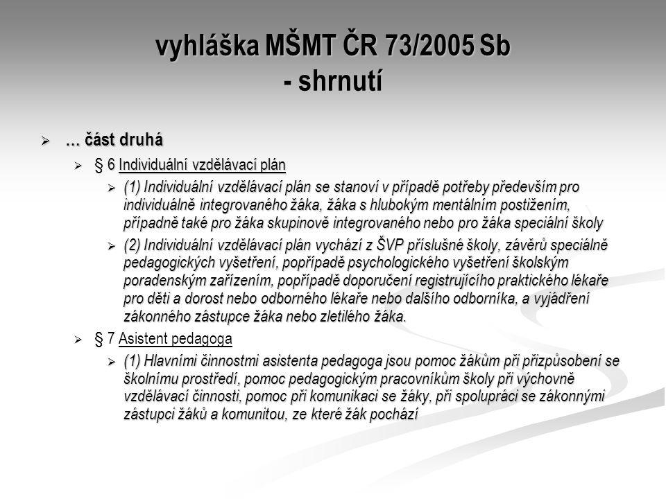 vyhláška MŠMT ČR 73/2005 Sb - shrnutí