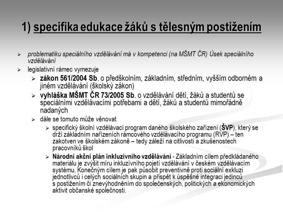1) specifika edukace žáků s tělesným postižením