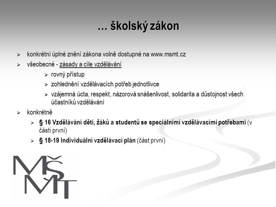 … školský zákon konkrétní úplné znění zákona volně dostupné na www.msmt.cz. všeobecné - zásady a cíle vzdělávání.