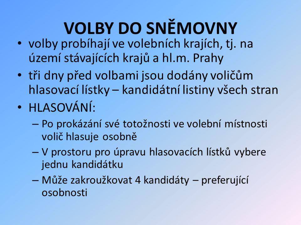 VOLBY DO SNĚMOVNY volby probíhají ve volebních krajích, tj. na území stávajících krajů a hl.m. Prahy.