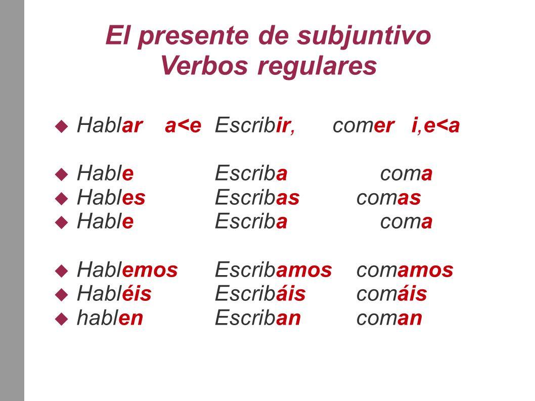 El presente de subjuntivo Verbos regulares