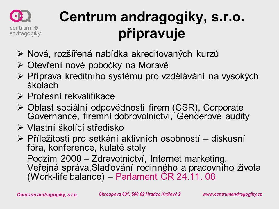 Centrum andragogiky, s.r.o. připravuje