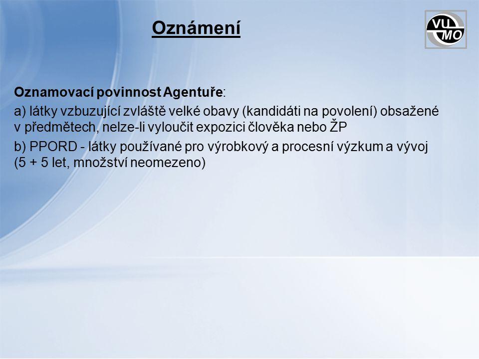 Oznámení Oznamovací povinnost Agentuře: