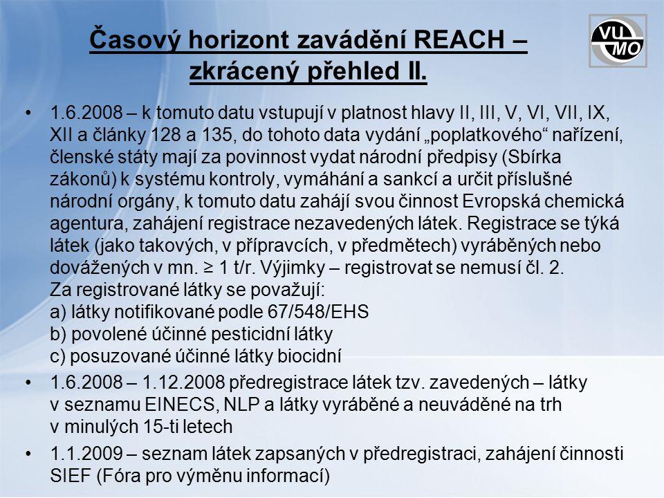 Časový horizont zavádění REACH – zkrácený přehled II.