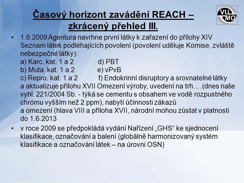 Časový horizont zavádění REACH – zkrácený přehled III.