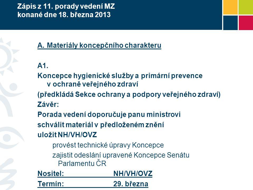Zápis z 11. porady vedení MZ konané dne 18. března 2013