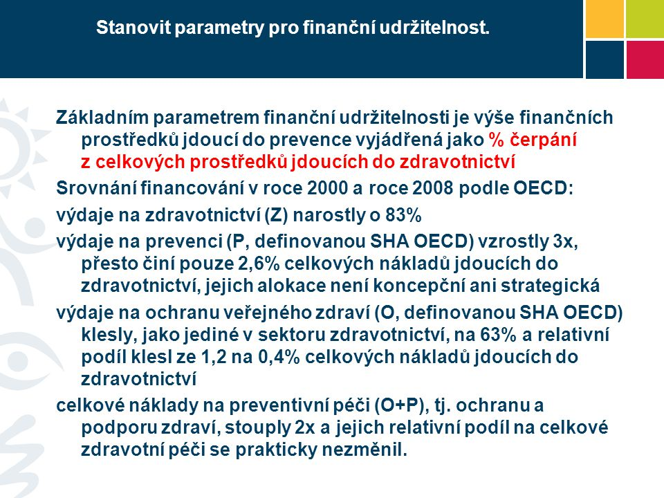 Stanovit parametry pro finanční udržitelnost.