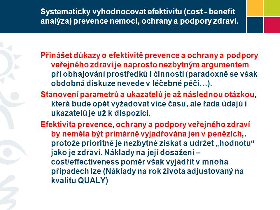 Systematicky vyhodnocovat efektivitu (cost - benefit analýza) prevence nemocí, ochrany a podpory zdraví.