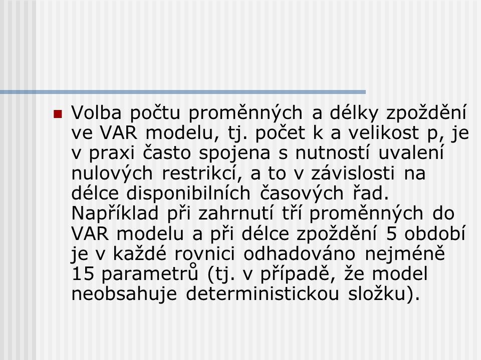 Volba počtu proměnných a délky zpoždění ve VAR modelu, tj