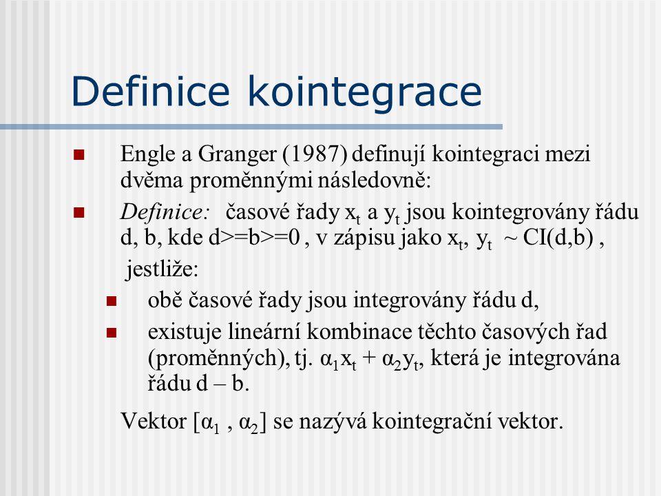 Definice kointegrace Engle a Granger (1987) definují kointegraci mezi dvěma proměnnými následovně: