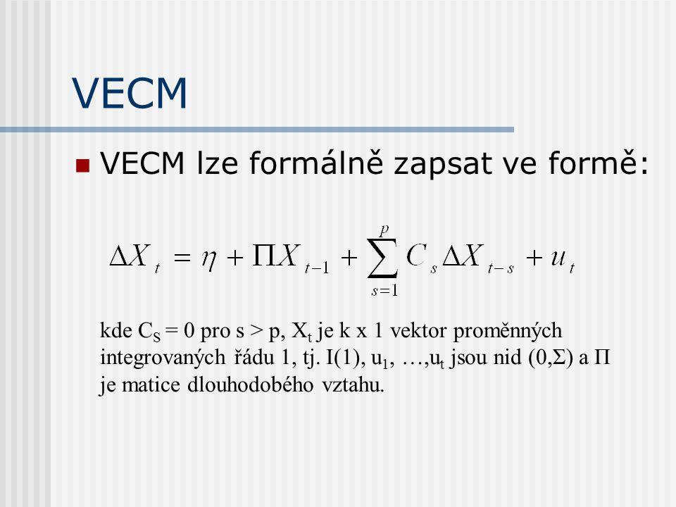 VECM VECM lze formálně zapsat ve formě: