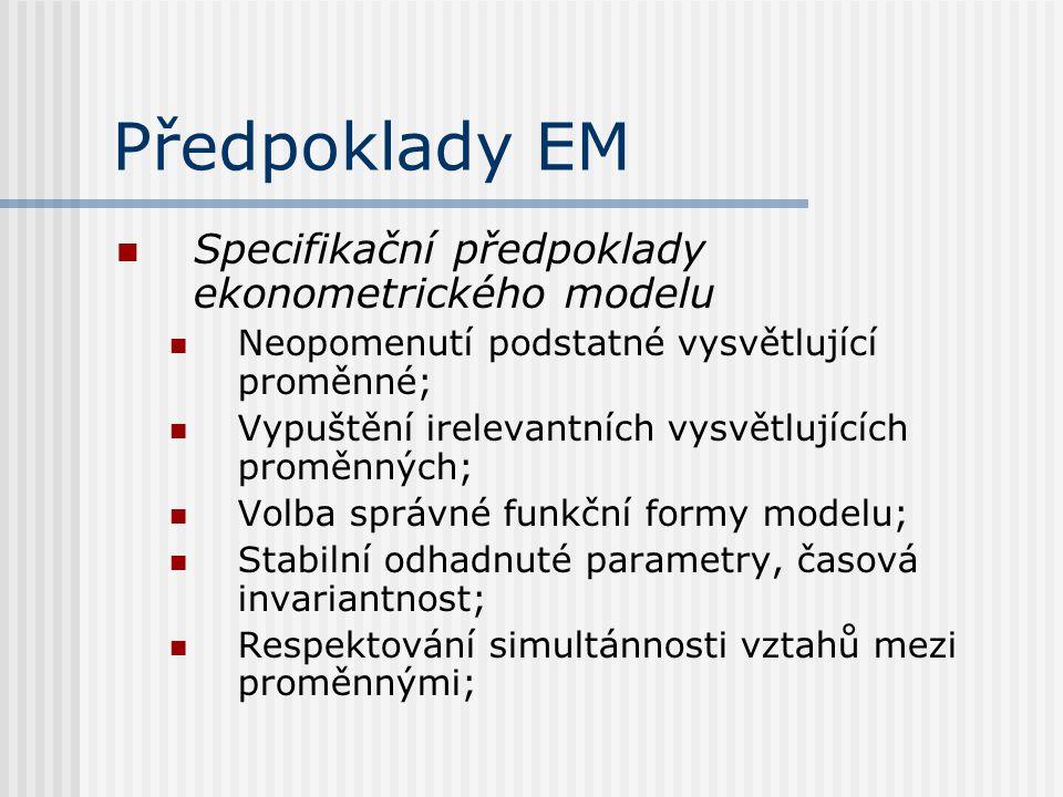 Předpoklady EM Specifikační předpoklady ekonometrického modelu