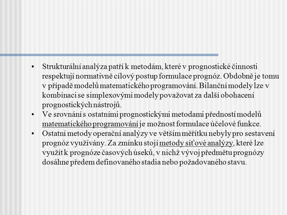 Strukturální analýza patří k metodám, které v prognostické činnosti respektují normativně cílový postup formulace prognóz. Obdobně je tomu v případě modelů matematického programování. Bilanční modely lze v kombinaci se simplexovými modely považovat za další obohacení prognostických nástrojů.