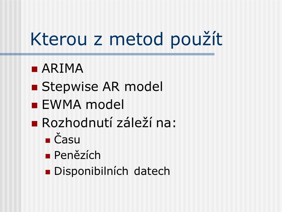 Kterou z metod použít ARIMA Stepwise AR model EWMA model