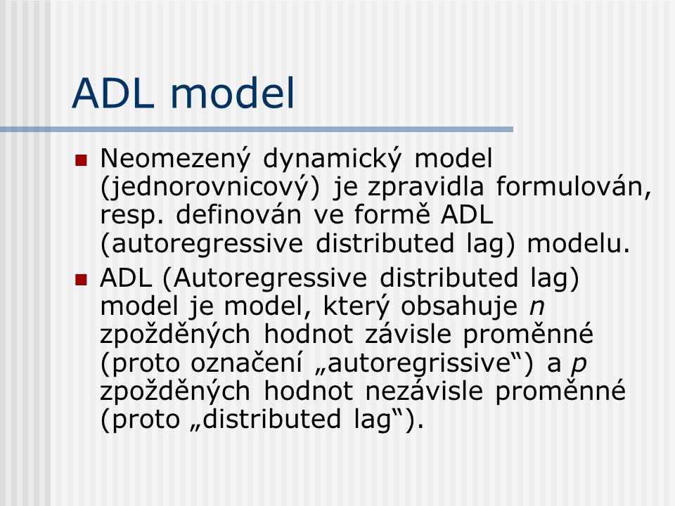 ADL model Neomezený dynamický model (jednorovnicový) je zpravidla formulován, resp. definován ve formě ADL (autoregressive distributed lag) modelu.