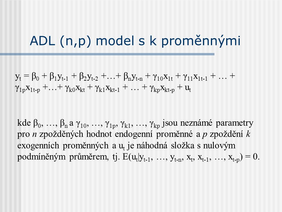 ADL (n,p) model s k proměnnými
