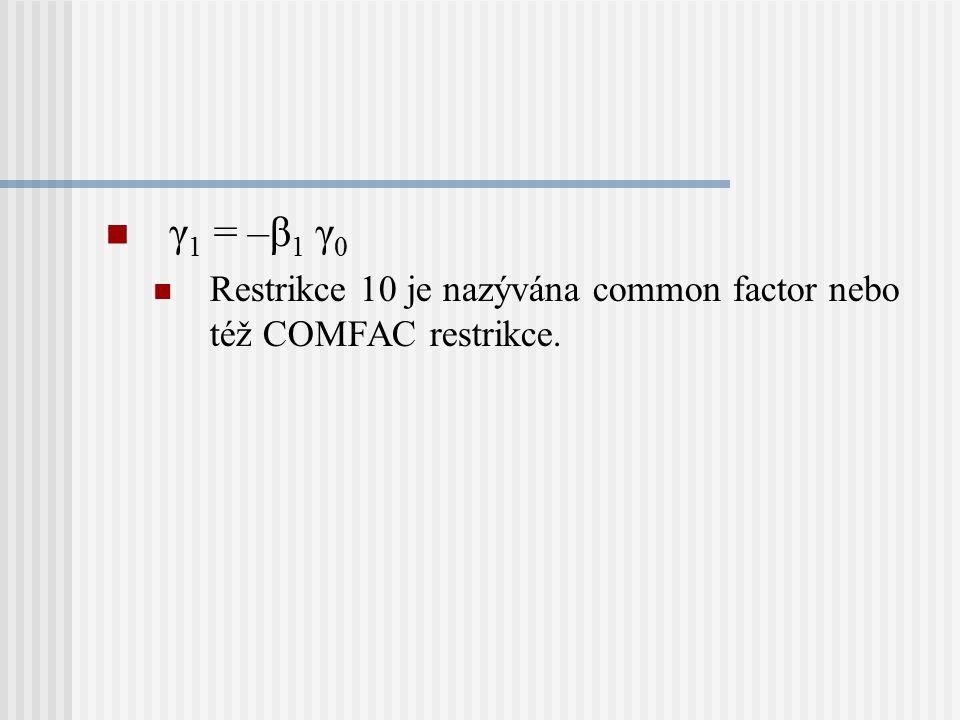 γ1 = –β1 γ0 Restrikce 10 je nazývána common factor nebo též COMFAC restrikce.