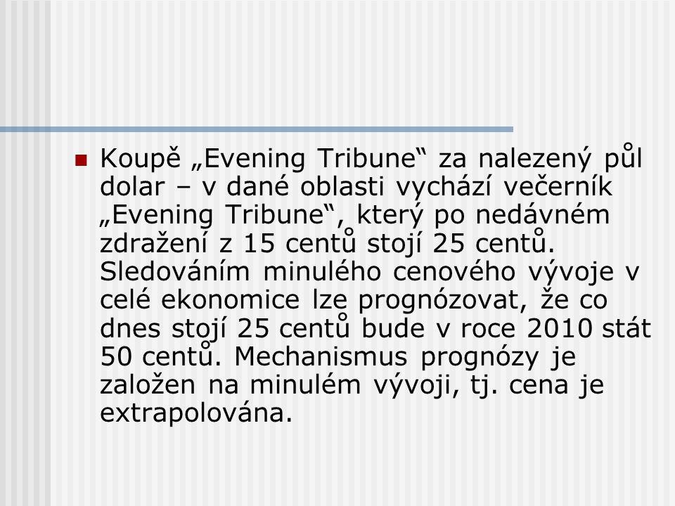 """Koupě """"Evening Tribune za nalezený půl dolar – v dané oblasti vychází večerník """"Evening Tribune , který po nedávném zdražení z 15 centů stojí 25 centů."""