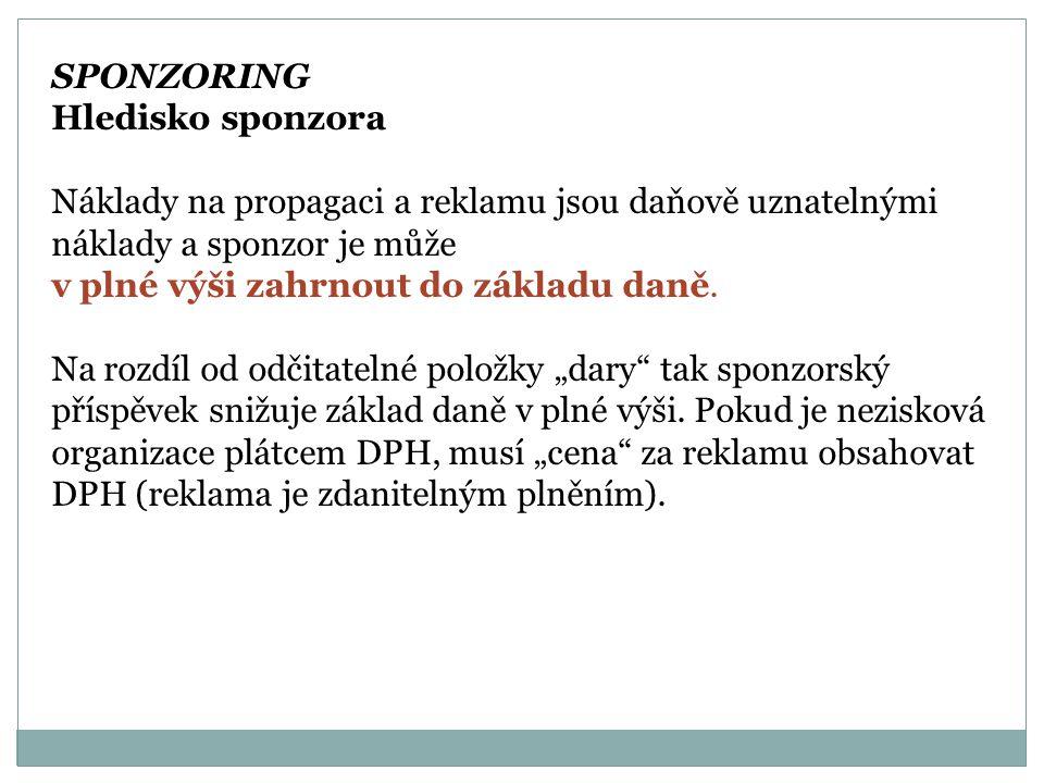SPONZORING Hledisko sponzora.