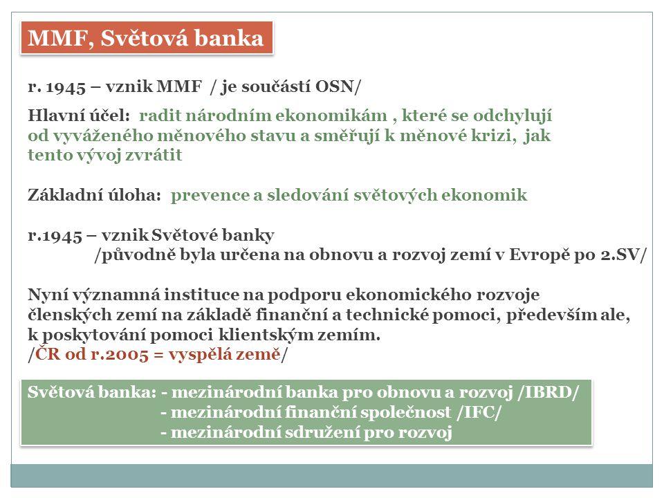 MMF, Světová banka r. 1945 – vznik MMF / je součástí OSN/
