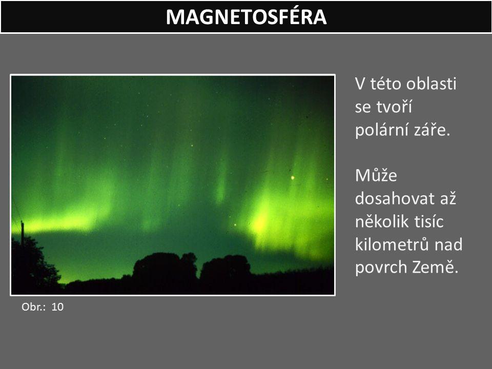MAGNETOSFÉRA V této oblasti se tvoří polární záře.